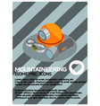 mountaineering color isometric poster vector image vector image