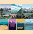 national parks colorful vintage posters set vector image