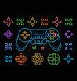 neon joystick icon set isolated on dark background vector image