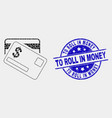 pixelated dollar bank cards icon and grunge vector image vector image