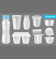 realistic yogurt transparent icon set vector image