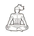 samurai warrior sitting cartoon graphic vector image vector image