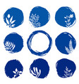 set floral ink blue watercolor icons vector image