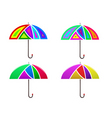 set of colored abstract umbrella vector image vector image