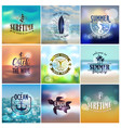 set of summer travel and vacation designs vector image vector image