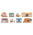 small business building set shops and stores cafe vector image vector image