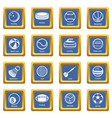 sport balls equipment icons set blue square vector image