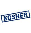 square grunge blue kosher stamp vector image vector image