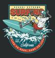 surfing school vintage colorful print vector image vector image