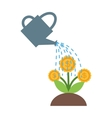 Watering flowers in garden centre nature plant vector image vector image
