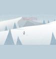 winter mountain landscape scenery walking santa vector image