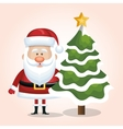 xmas santa claus with christmas tree snow star vector image vector image