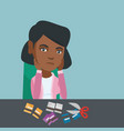 young african-american woman cutting credit cards vector image vector image
