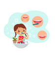 young girl brushing teeth vector image