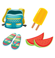 A backpack a pair of slippers and foods for vector image vector image