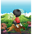 A boy above a stump with a magnifying glass vector image vector image