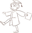 A drawing of a person graduating vector image vector image