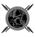 ancient spartan warrior helmet greek ornament vector image vector image