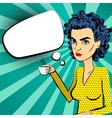 Angry woman blue hair pop art drinking coffee vector image