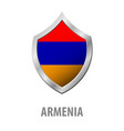 armenia flag on metal shiny shield vector image