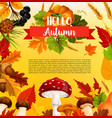 autumn acorn leaf pumpkin greeting poster vector image vector image