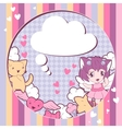 Background with doodle cute kawaii vector image vector image