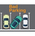 Bad parking Cars top view vector image