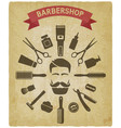 barbershop tools around male face vintage vector image vector image