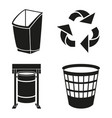 black and white recycling garbage silhouette set vector image