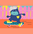 boy hippo skateboarding on a street urban cartoon vector image