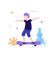 boy skateboarding outdoors in the park isolated on vector image