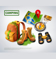 camping realistic composition vector image vector image