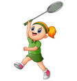 cartoon girl playing tennis vector image