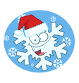 Cartoon Snowflake Character With Santa Hat vector image
