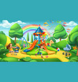 children playground nature landscape park 3d vector image