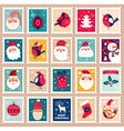 Christmas set of post stamps vector image vector image