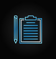clipboard with pencil thin line colored vector image