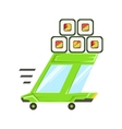 Fast Delivery Takeout Service Green Car With vector image vector image