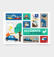 flat auto accident infographic concept vector image
