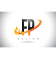 fp f p letter logo with fire flames design and vector image vector image