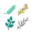 hand drawn tree branches color leaves set vector image