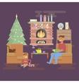 House Christmas room vector image