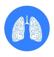 Human lungs icon in black style isolated on white vector image