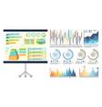infographics on presentation board whiteboard vector image vector image