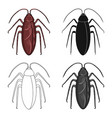 insect cockroach single icon in cartoonblack vector image