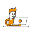isolated computer and boy design vector image vector image