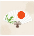 japanese fan sun bamboo white background im vector image