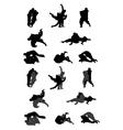 Jiu-jitsu and judo wrestlers silhouettes vector image