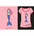 lovely mermaid t-shirt vector image