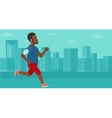 Man jogging with earphones and smartphone vector image